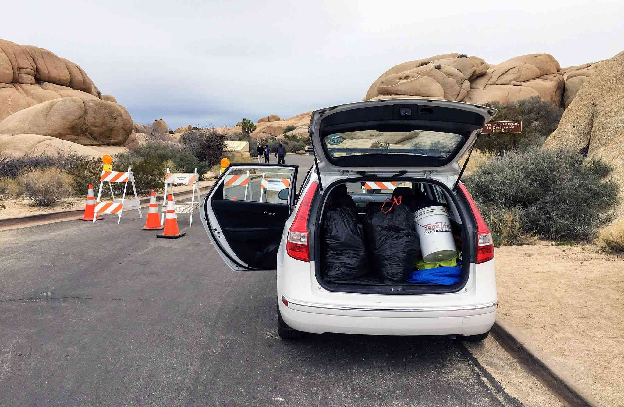 A volunteer's car filled with trash collected at shuttered Joshua Tree National Park.