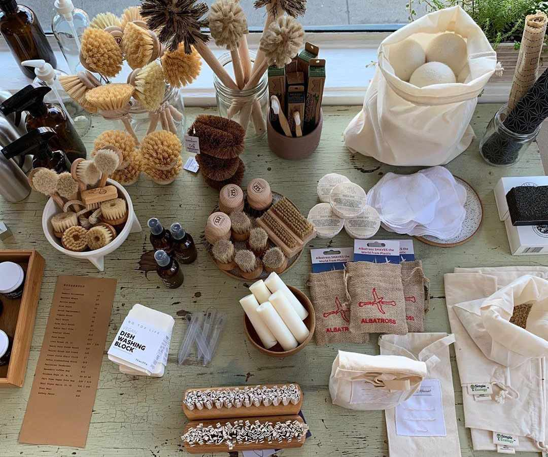 A range of zero-waste no plastic home and bath products at a portland pop-up