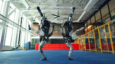 Two robots dancing