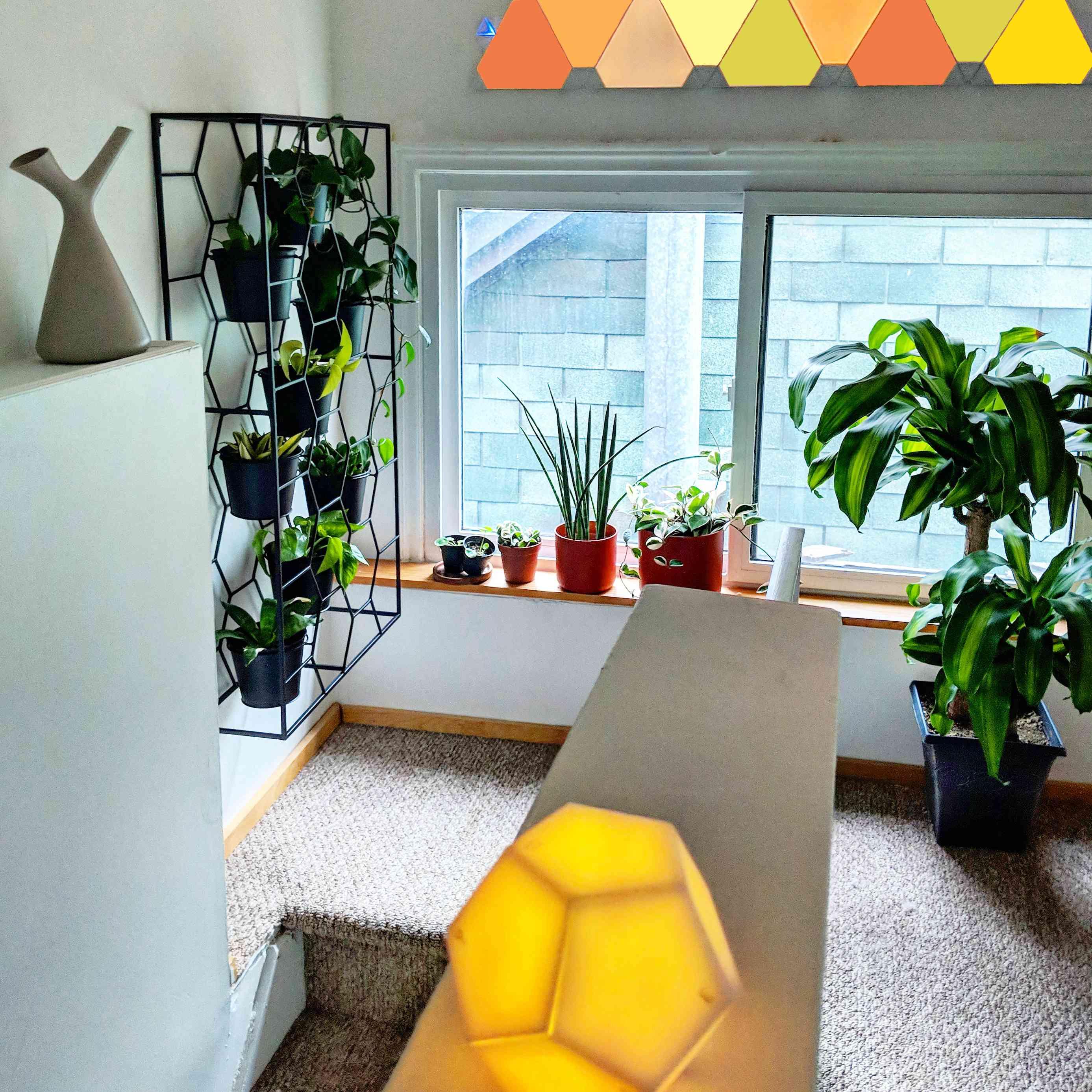 Smart light panels on white wall.