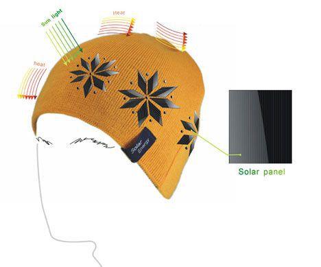 El concepto de guantes y gorro de energía solar te mantiene caliente en invierno