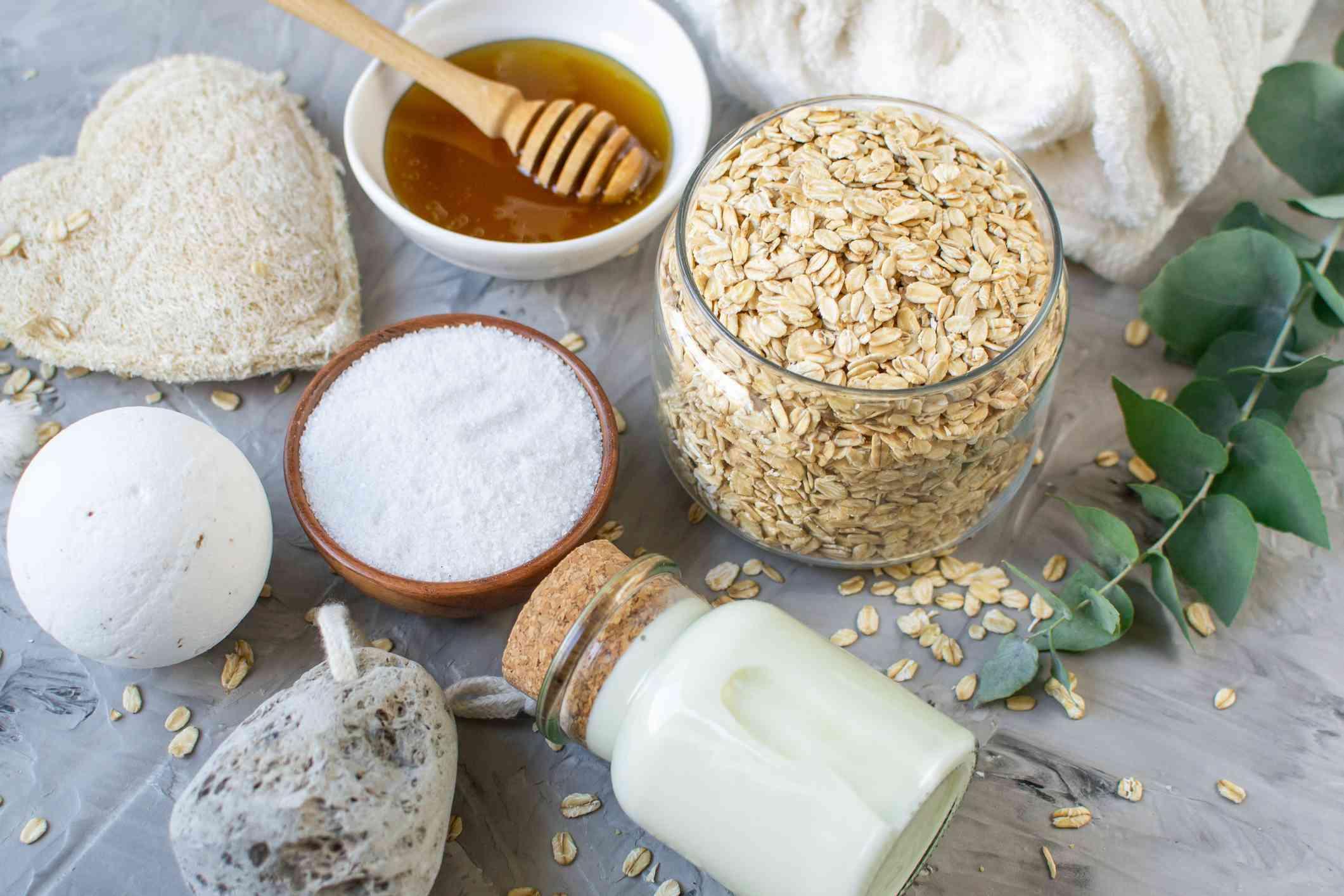 Oatmeal, salt and oil to make a scrub.