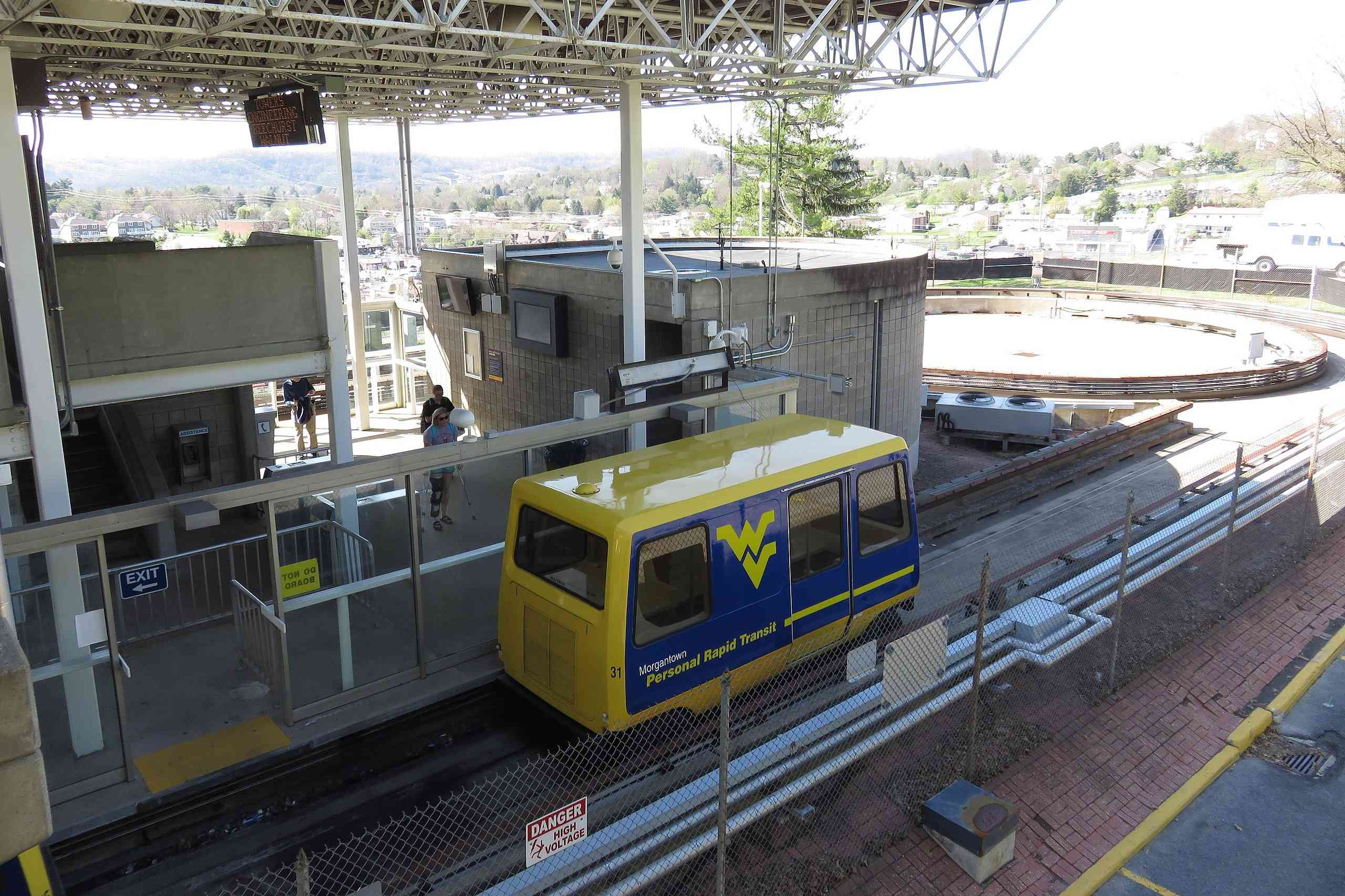 WVU's Personal Rapit Transit car pulling up to station