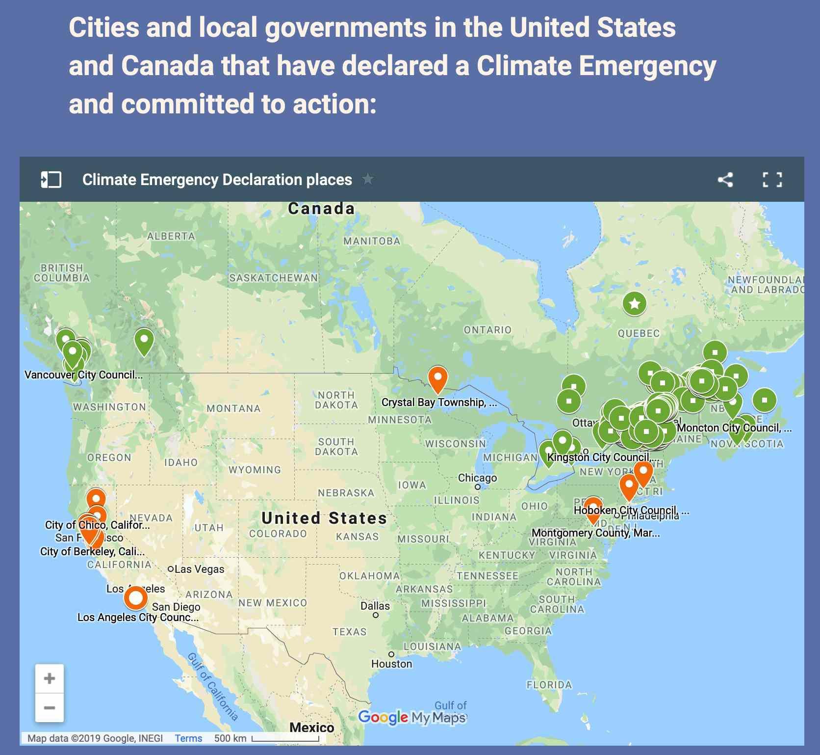 North American cities declaring climate emergencies