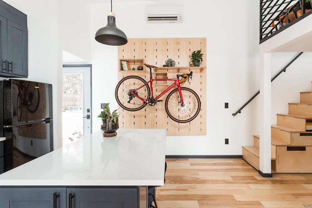 Pegboard shelving unit in kitchen