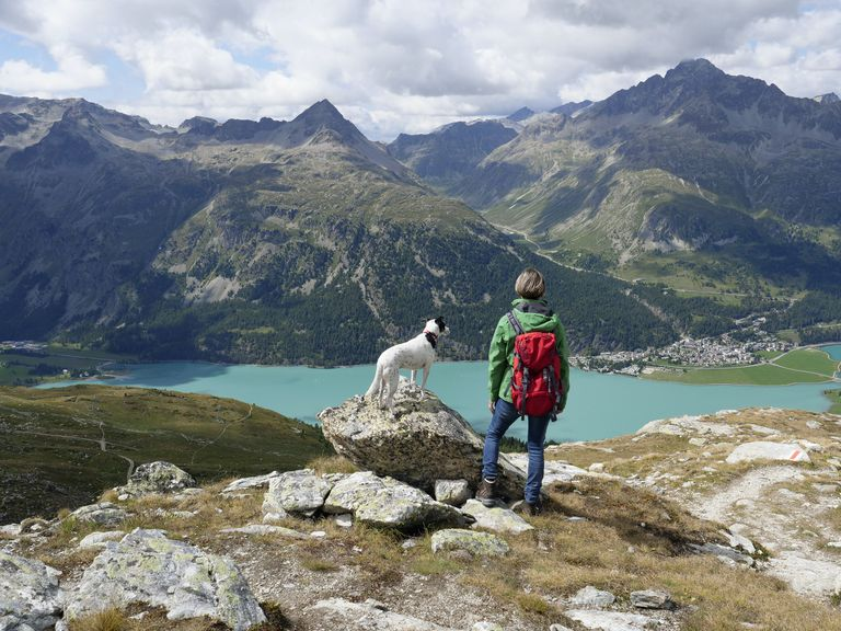 hiking view of a mountain lake