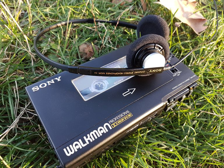 Walkman laying on the grass