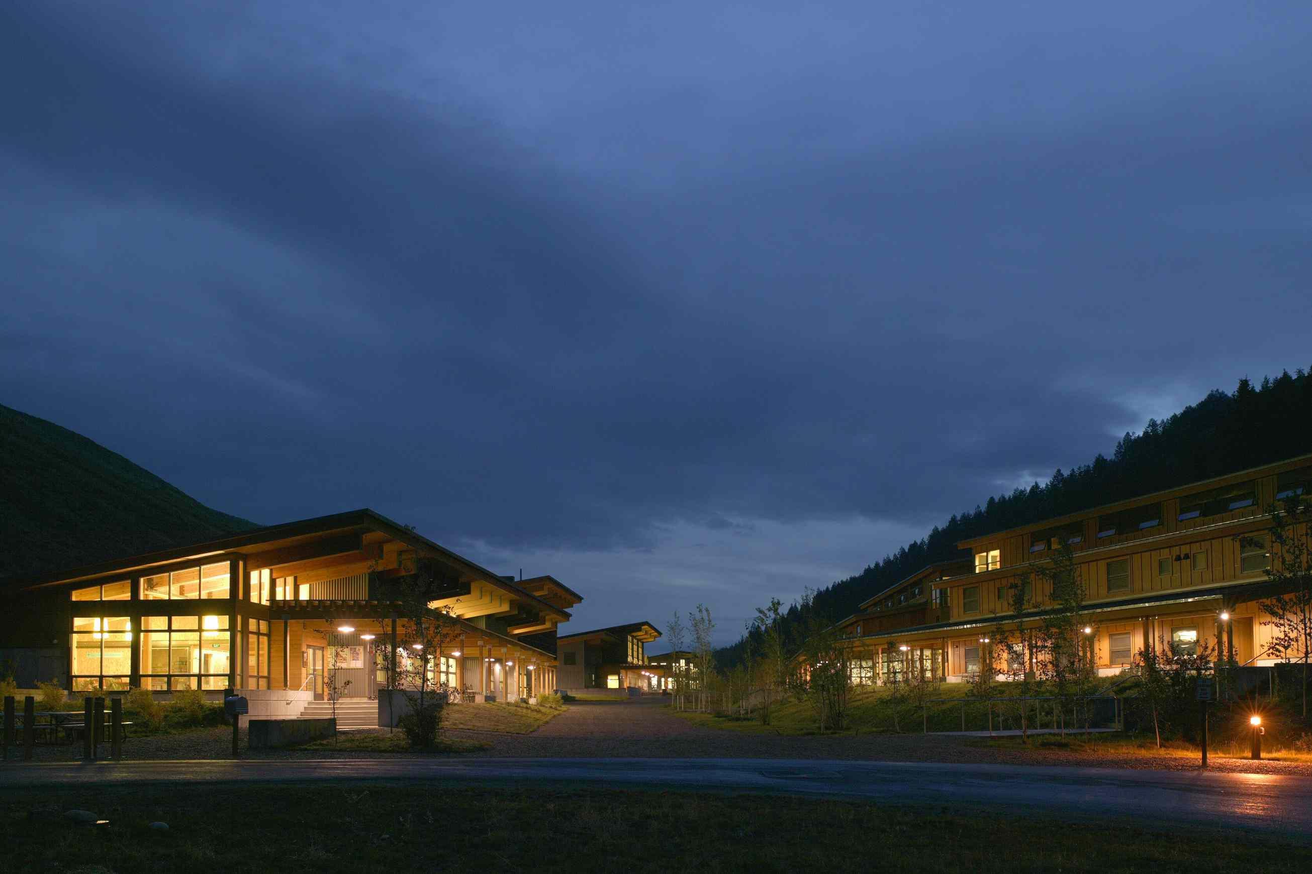 Teton Science School exterior lit up at night