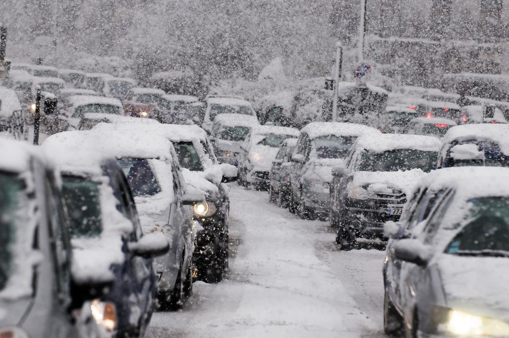 traffic jam caused by heavy snowfall