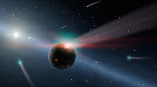 An artist's illustration of comets racing toward Eta Corvi