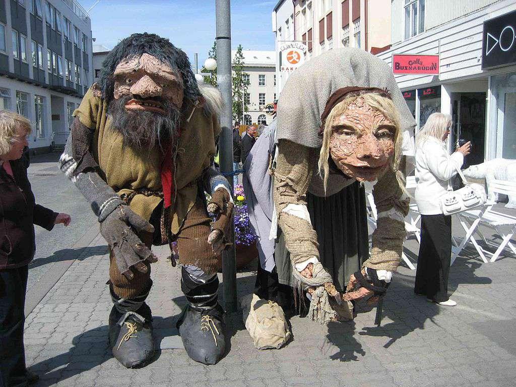 Figures of Grýla and folklore figure Leppalúði on the main street of Akureyri, Iceland.