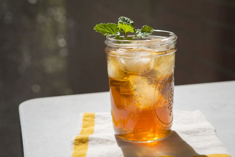 Iced Tea and Mint in Glass Jar