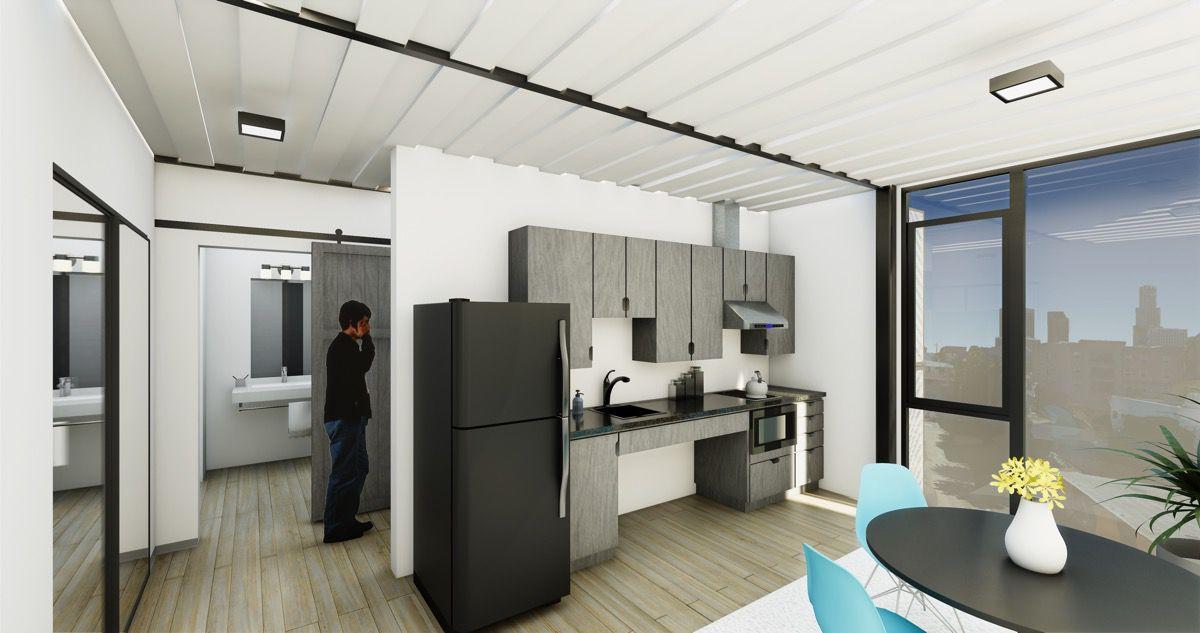Interior view with kitchen
