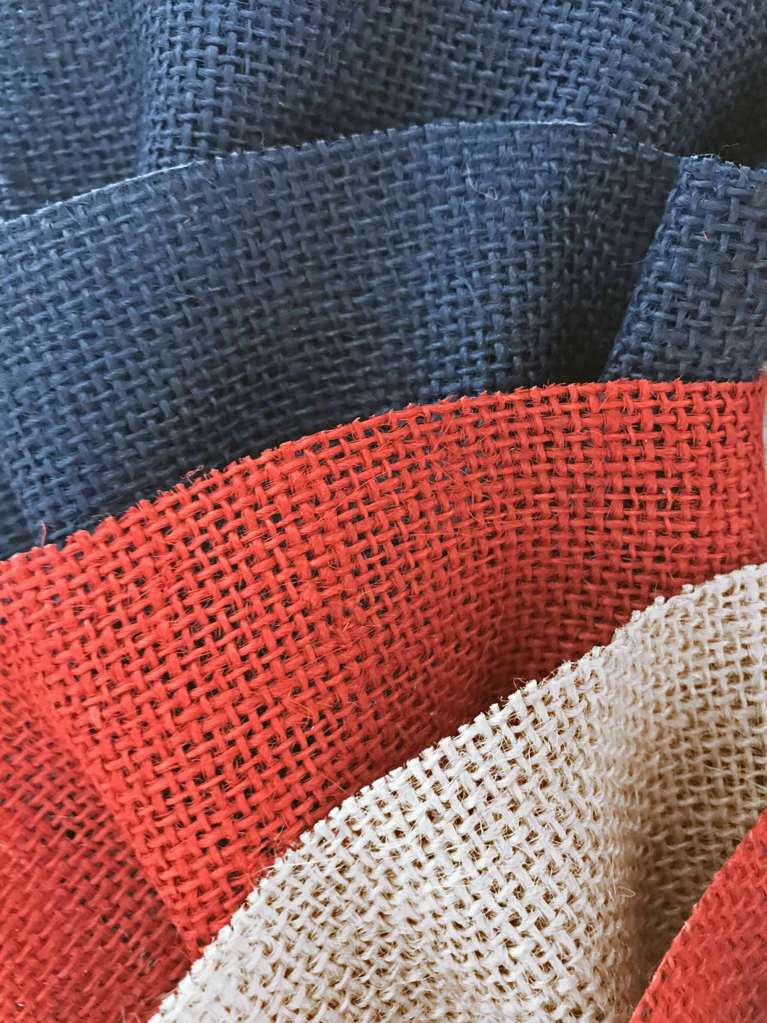 Red White and Blue colored jute ruffled fabric arts and craft material