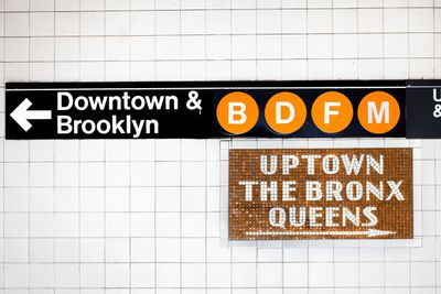 New York City Subway sign for the B, D, F, and M lines