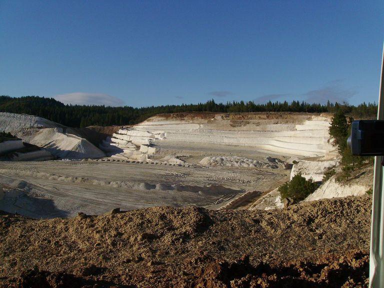 Quarry under a cloudless blue sky