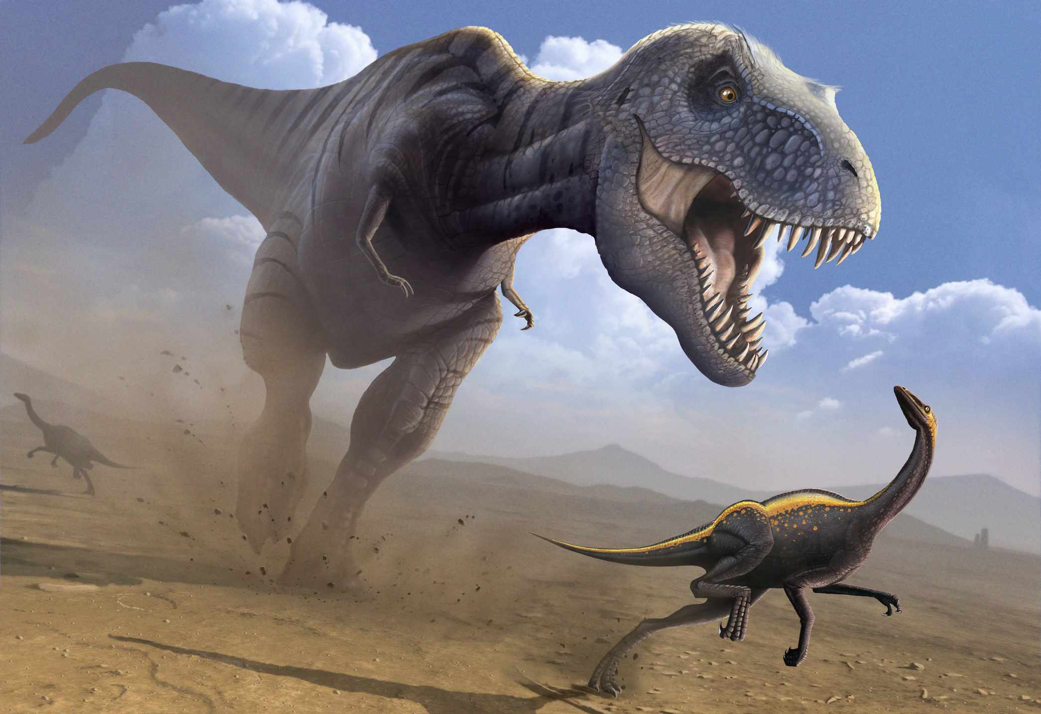 artwork of a Tyrannosaurus rex running after smaller dinosaur with mouth open
