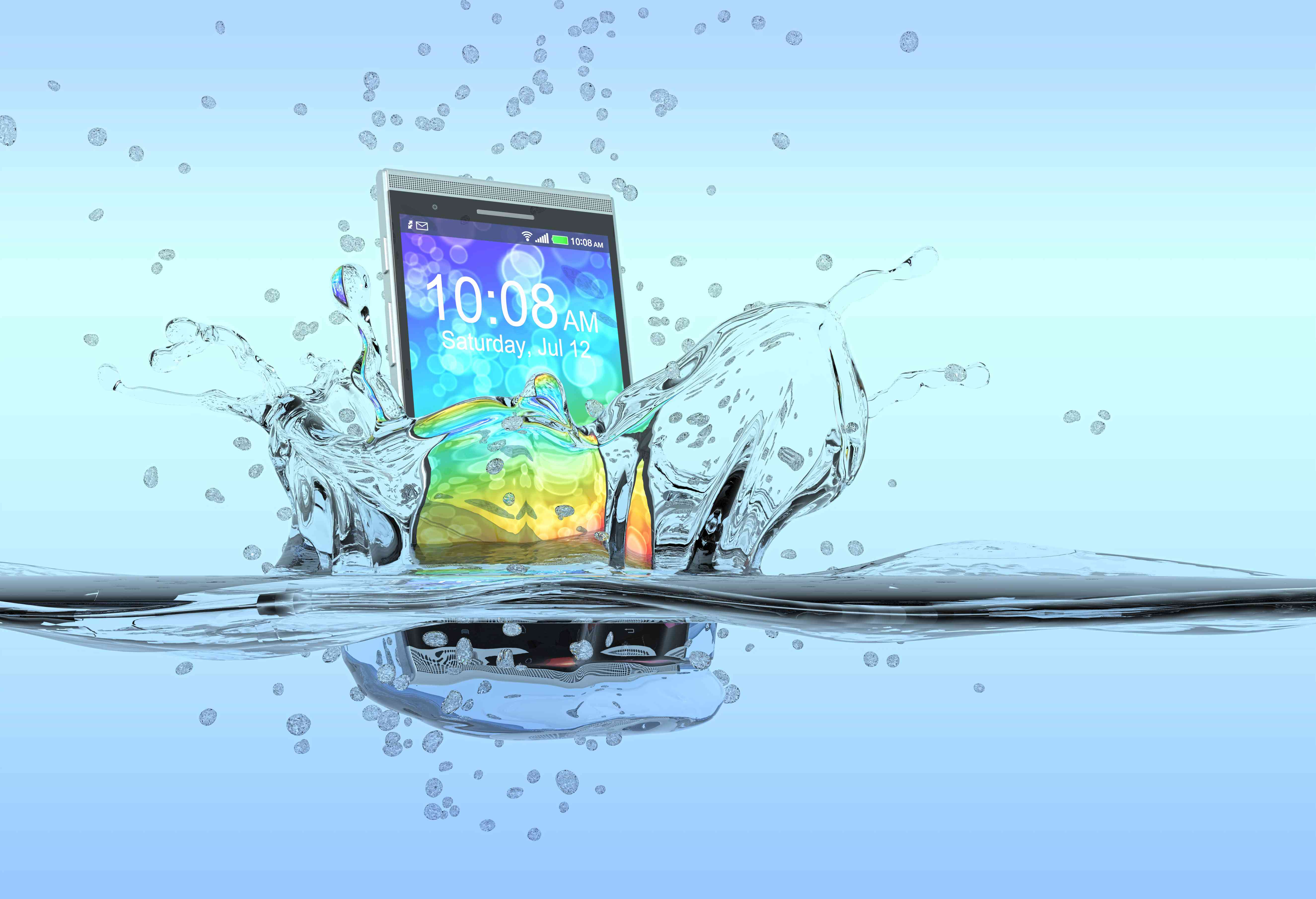 smartphone falls into water