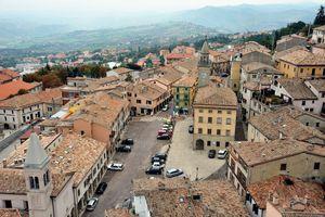 Aerial view of San Marino parking lot at sunrise