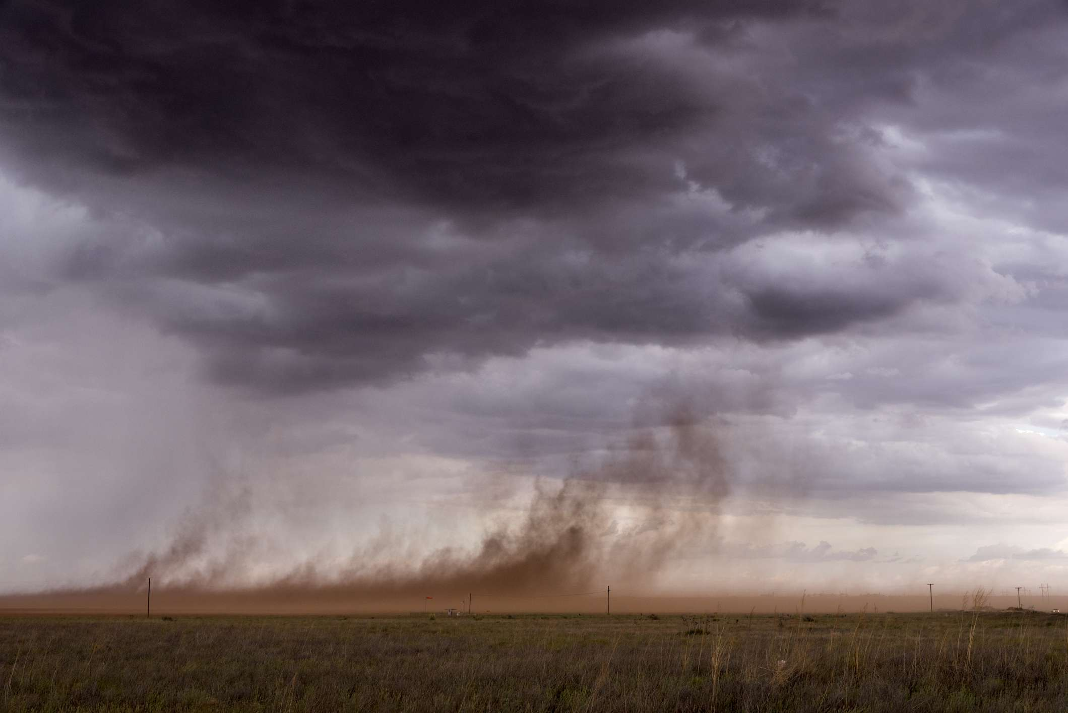 Strong winds whipping up dust in the Texas panhandle