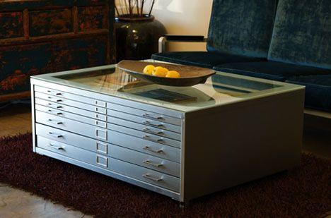rehab vintage flat file coffee table