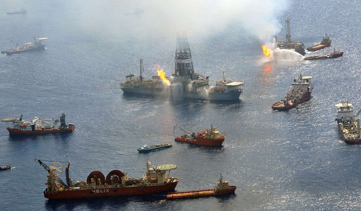 The Discoverer Enterprise and the Q4000 burn undesirable gases from the still uncapped Deepwater Horizon well in the Gulf of Mexico