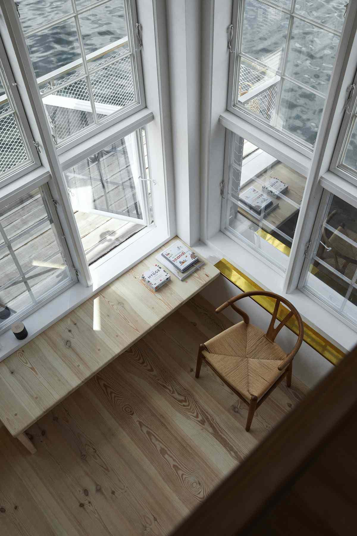 View down towards windows