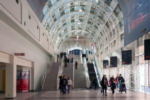 Toronto skywalk with people walking through