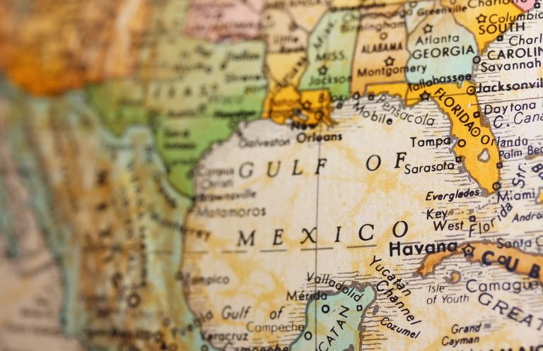 The Gulf of Mexico on a Globe