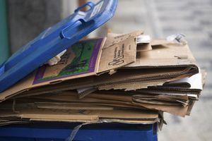 Europe, Czech Republic, Prague, View Of Cardboard Recycling Bin