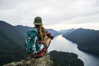 A woman hiking in Port Angeles, Washington, United States