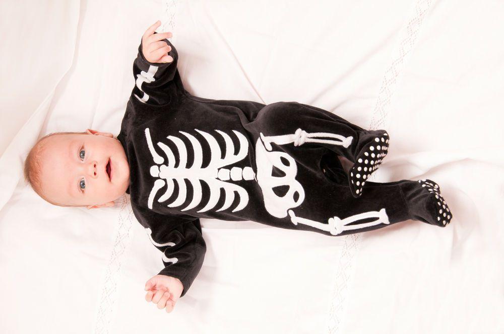 Baby in skeleton costume