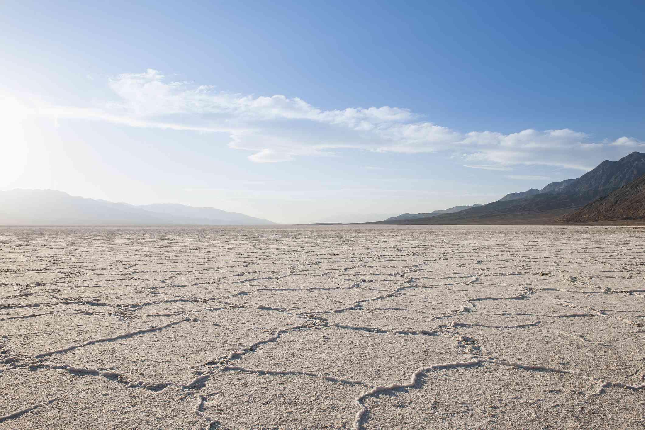 Cracks in dry desert landscape of Death Valley, California