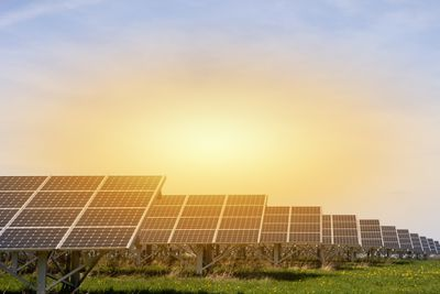 Sunshine over solar panels