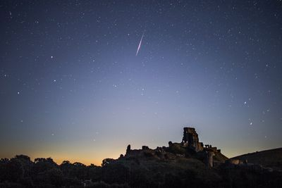The Perseids meteor shower occurs every year when the Earth passes through the cloud of debris left by Comet Swift-Tuttle, and appear to radiate from the constellation Perseus in the north eastern sky.