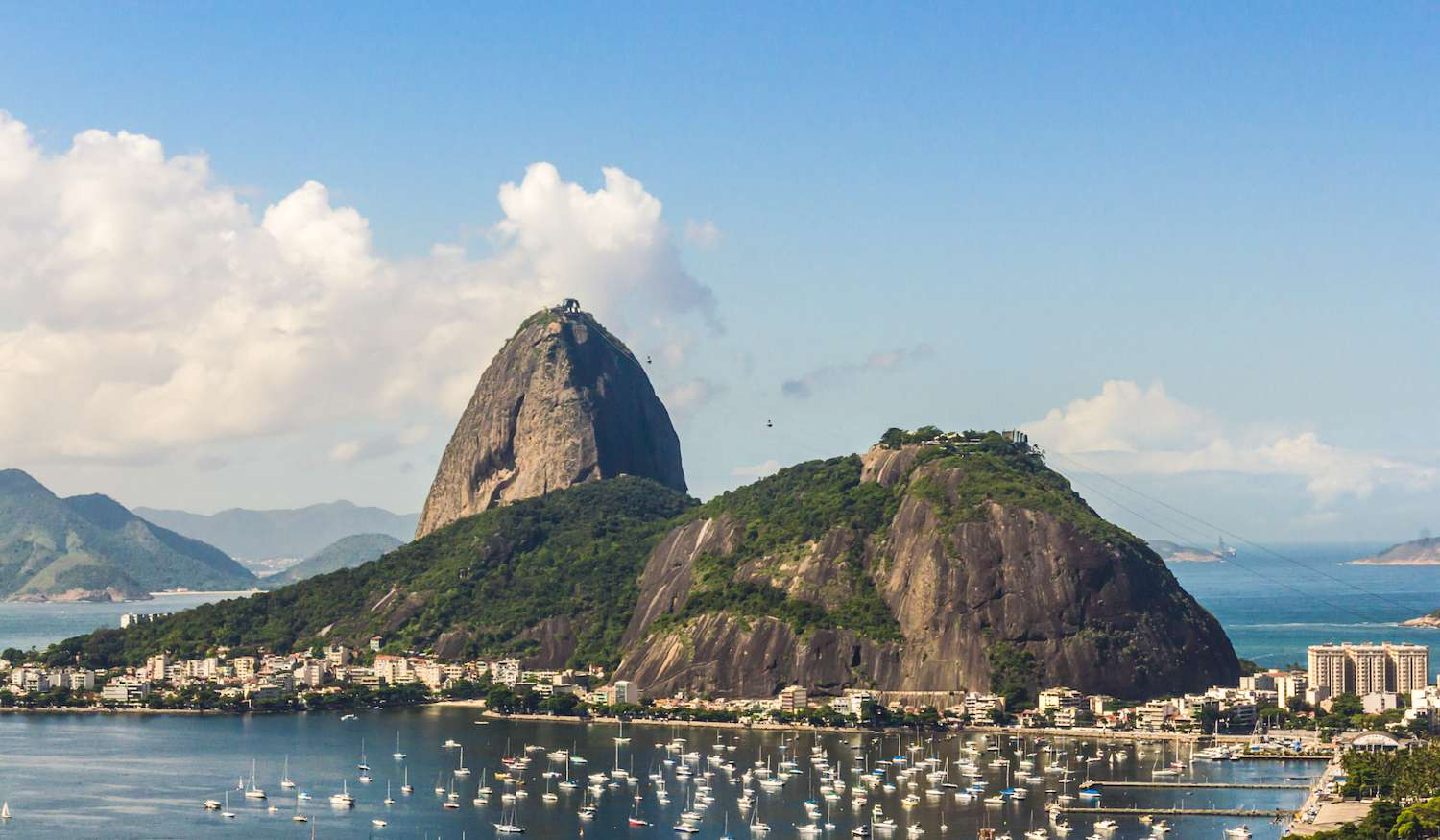 Sugarloaf Mountain looms over the sailboats in Guanabara Bay