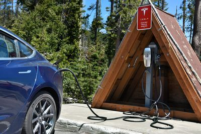 Tesla battery charging station at Crater Lake National Park in Oregon, USA.