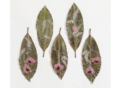 embroidered leaf art Hillary Waters Fayle