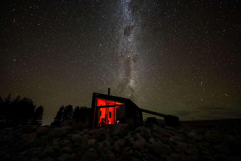 Skylark Cabin by Barry Connor nighttime