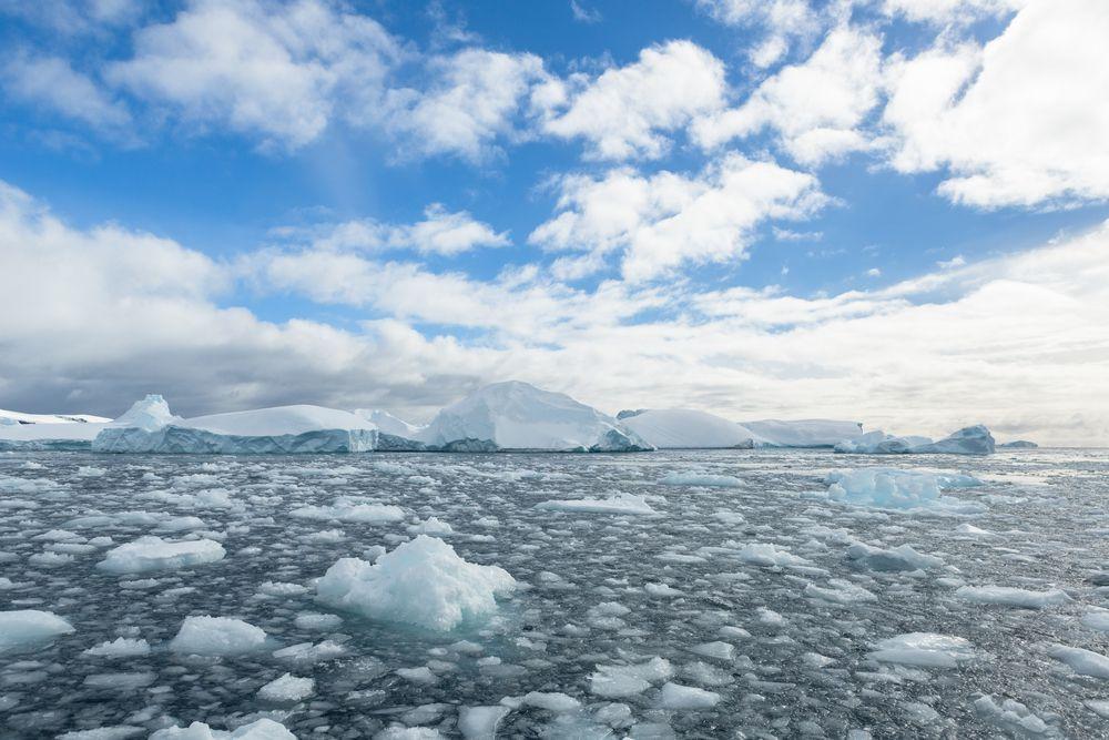 Melting sea ice on Antarctica