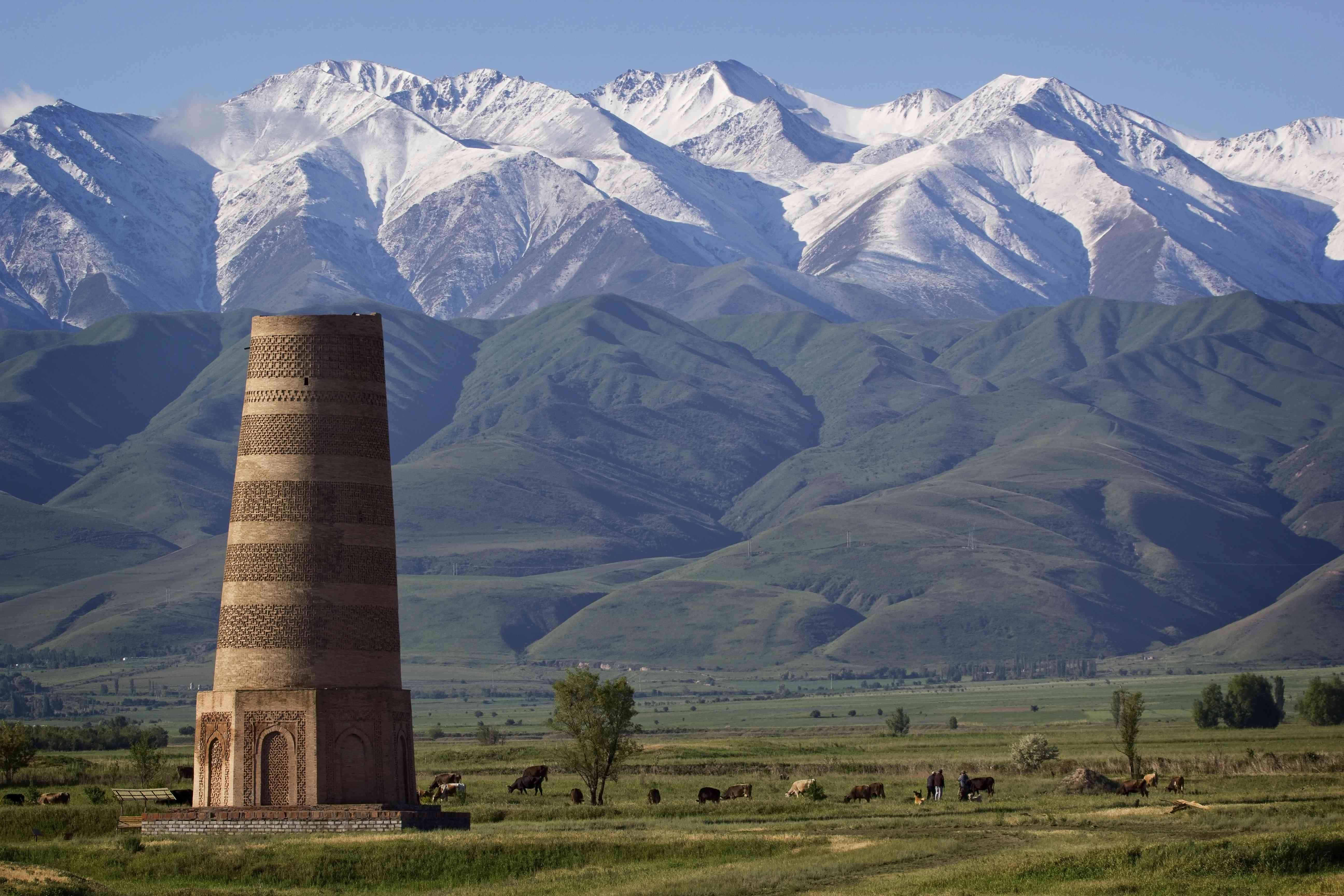 Burana Tower along the ancient Silk Road in Kyrgyzstan