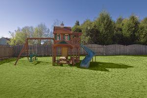 Wooden Swing Set in Backyard