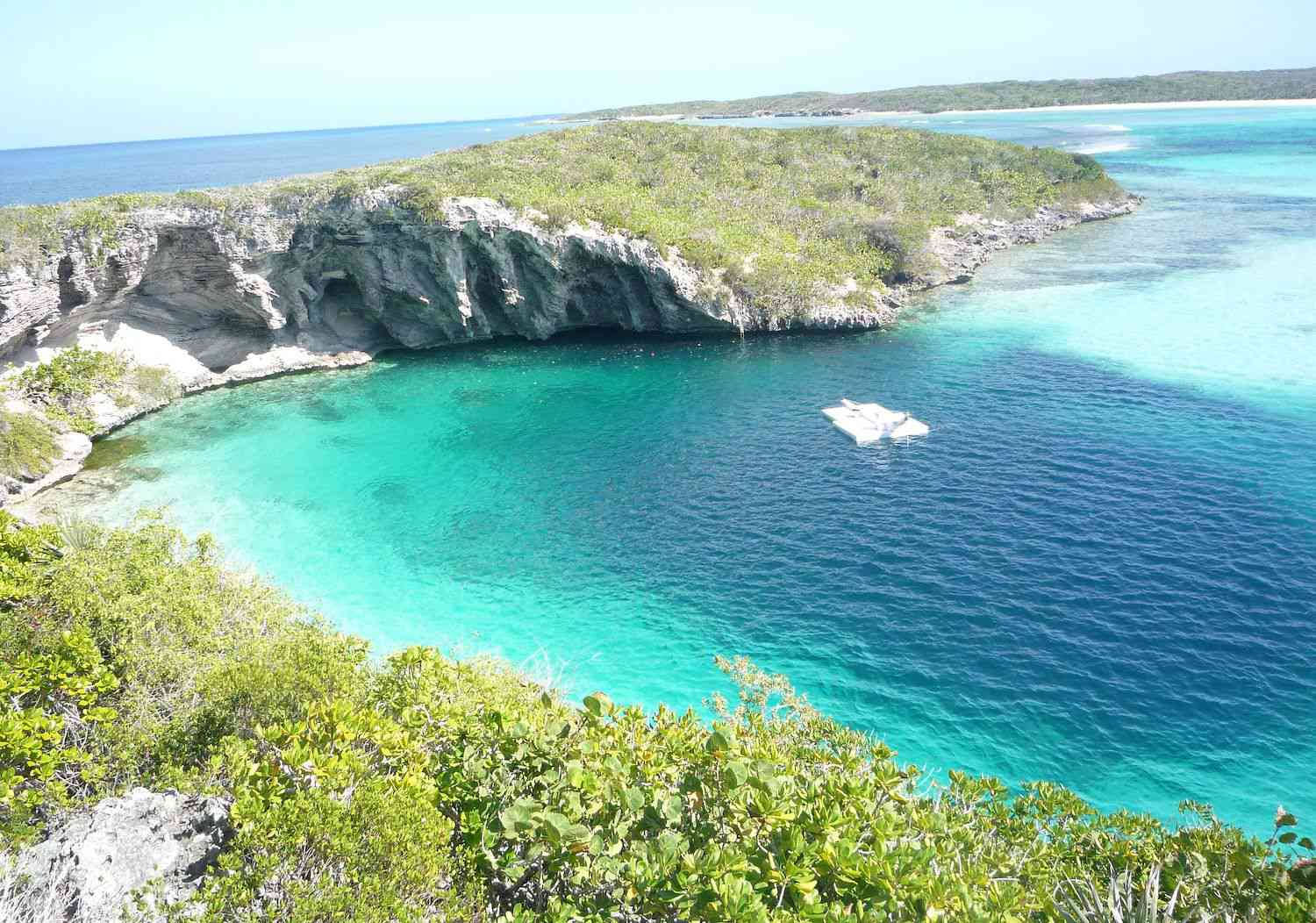 The clear turquoise water of Dean's Blue Hole in the Bahamas