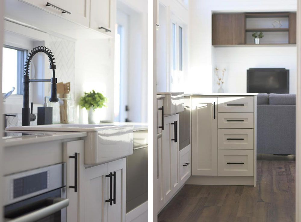 Kitchen sink and cupboards