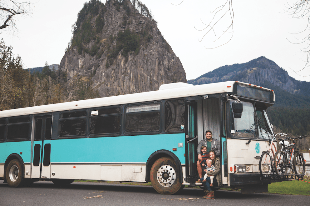 The Manning Family and their converted bus-home
