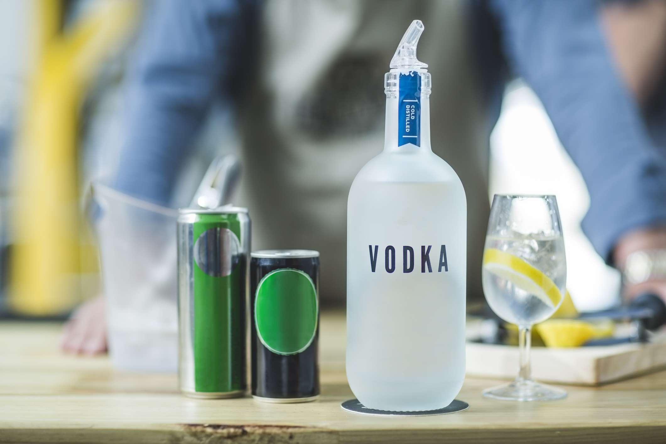 Vodka bottle.