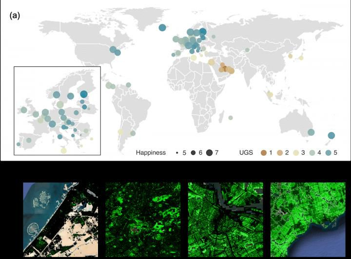The map of urban green space and happiness in 60 developed countries.