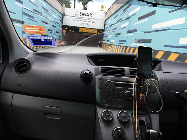 View from inside a car entering the SMART Tunnel in Malaysia