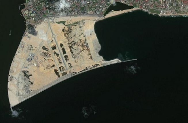 An aerial view of the construction of Eko Atlantic in Nigeria