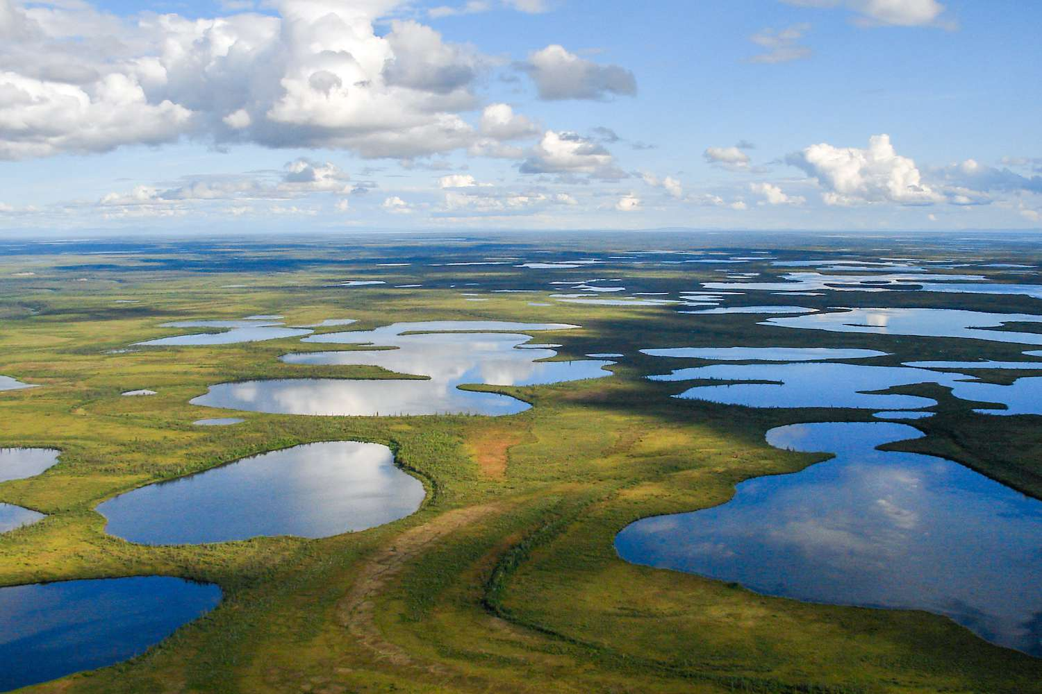An aerial view of Vuntut National Park in the summer